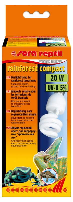 УВ лампа sera rainforest compact  20W - 5 % UVB лъчи - компактна