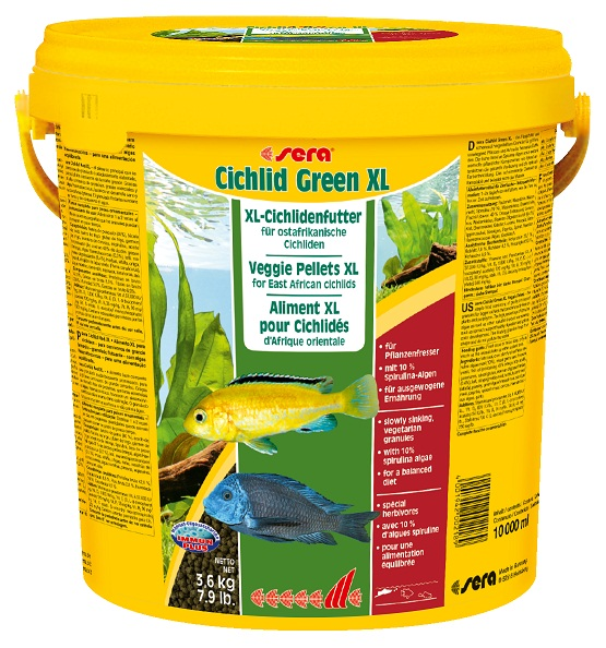 Sera Cichlid Green XL храна със спирулина за големи растителноядни риби